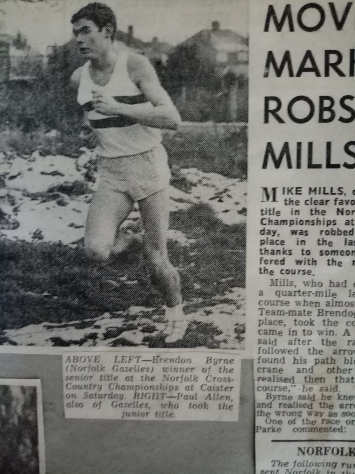 Paul Allen 1967 Norfolk Cross Country championships. 3rd overall 1st Junior.